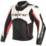 Dainese Misano D-Air Airbag Giacca in pelle Bianco/Nero/Rosso 48