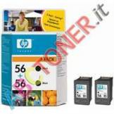 HP Multipack Conf.2 Cartucce N.56 Nero Psc 1215 All-In-One (C9502ae)