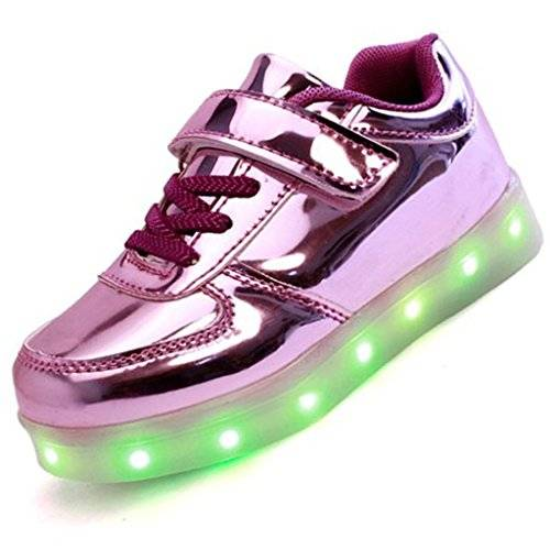 Topteck Kid Boy Girl ricarica USB LED Light Up Sport Running Shoes Lumious lampeggiante Sneakers Viola