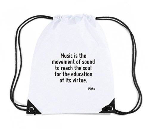 T-Shirtshock - Zaino Zainetto Budget Gymsac CIT0163 Music is the movement of sound to reach the soul for the education of its virtue., Taglia Capacita 11 litri