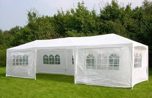 KMS Waterproof 3m x 9m PE Gazebo Marquee Awning Party Tent Canopy White 120g Polyster Power Coated Steel Frame