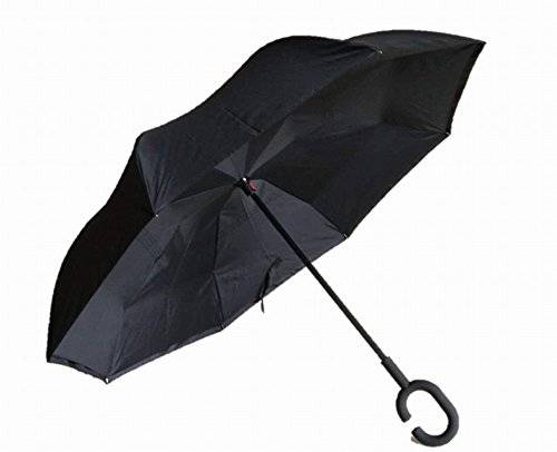 Autonorth Double Layer Reverse Outdoor Stick Umbrella Windproof Waterproof and Self Standing Inside Out Umbrella Best for Travelling and Car Using Color Full Black