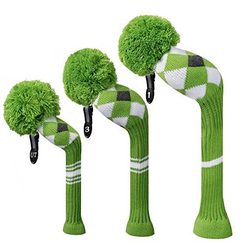 Scott Green Grey White Argyle Style Knit Golf Headcover, Set of 3 for Driver Wood(460cc) Fairway Wood and Hybrid/UT