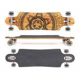 MAXOfit® Deluxe Longboard GeoLines Bamboo No.96, Drop Through, 96,5 cm, 4 stratti, ABEC11