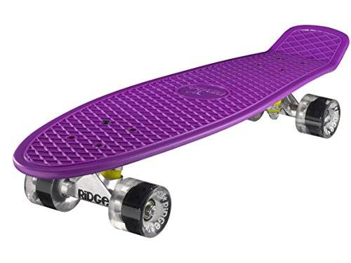 Ridge - Skateboard 69 cm 27 Inch Nickel Cruiser Retro Stil M Rollen Komplett Fertig Montiert, Skateboard unisex, Purple/ Clear, 69cm