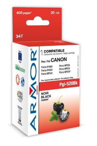 Armor K12464 20ml 405pages Pigment black ink cartridge - Ink Cartridges (Canon, PGI520BK, Pigment black, Canon MP 540 Canon MP 550 Canon MP 560 Canon MP 620 Canon MP 630 Canon MP 640 Canon MX 860 Canon..., 20 ml, 405 pages)