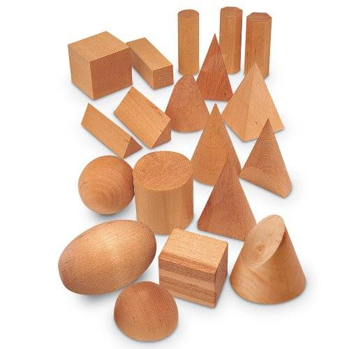 Learning Resources WOODEN GEOMETRIC SOLIDS SET OF 19