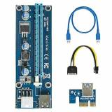 easyDecor 6-Pin Powered PCI-E PCI Express Riser - VER 006C - 1X to 16X PCIE USB 3.0 Adapter Card - With USB Extension Cable - GPU Graphic Card Crypto Currency Mining