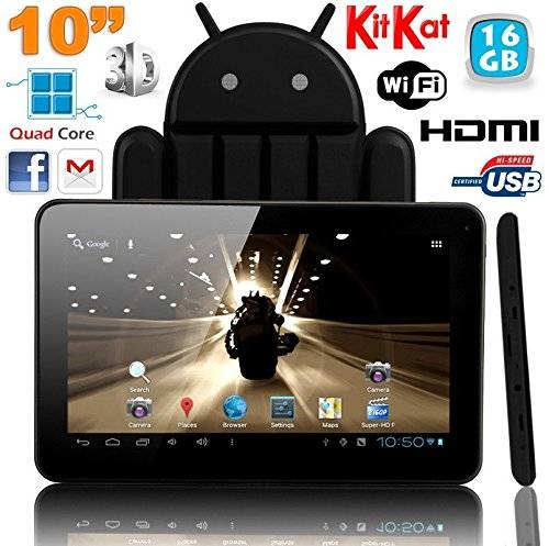 YONIS Tablet Touch 10pollici Android 4.4Kitkat Quad Core 16GB nero