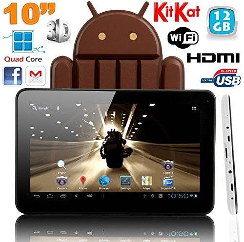 YONIS Tablet Touch 10pollici Android 4.4Kitkat Quad Core 12GB Bianco