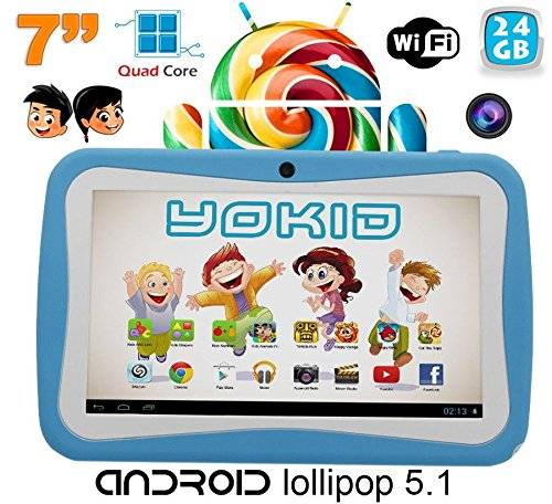 YONIS Tablet Touch BAMBINO yokid Quad Core 7 Pollici Android 5.1 Blu 24 GB
