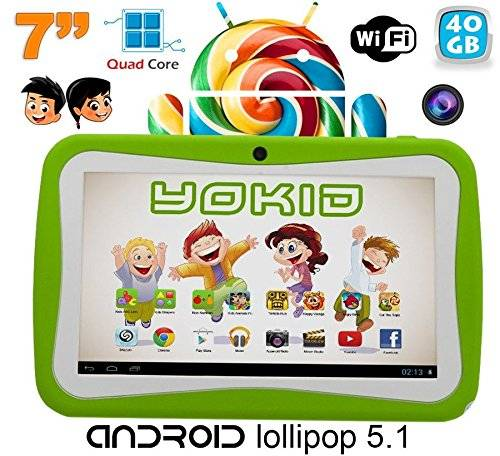 YONIS Tablet Touch BAMBINO yokid 7 pollici Quad Core Android 5.1 Verde 40 GB