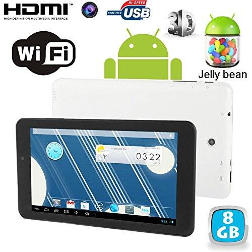 YONIS Tablet touch, Android 4,2 Jelly Bean, 7 pollici, 8 GB, Dual Core, colore: bianco