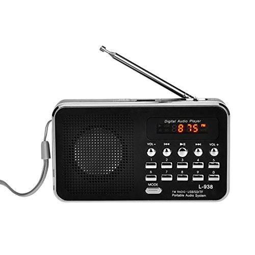 iMinker Mini Digital Portatile Music Player Radio FM dell'altoparlante di mezzi MP3 Port TF / SD USB Disk per PC iPod Phone con display a LED e batteria ricaricabile (Nero)
