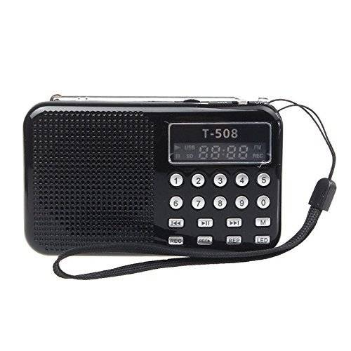Radioddity T-508 Mini Digital AM FM LCD Radio Speaker, Micro SD/TF USB Disk Speaker MP3 Music Player Stereo, Portable Pocket Novelty Radio Receiver, Handheld CB Radio Transceiver, Black