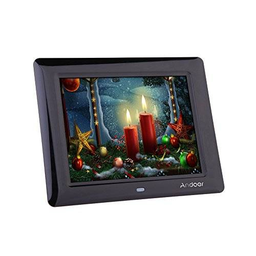 Andoer 8'' Cornice Foto Digitale LCD per Musica e Film MP3 MP4 Movie Player Sveglia Regalo di Natale con Telecomando