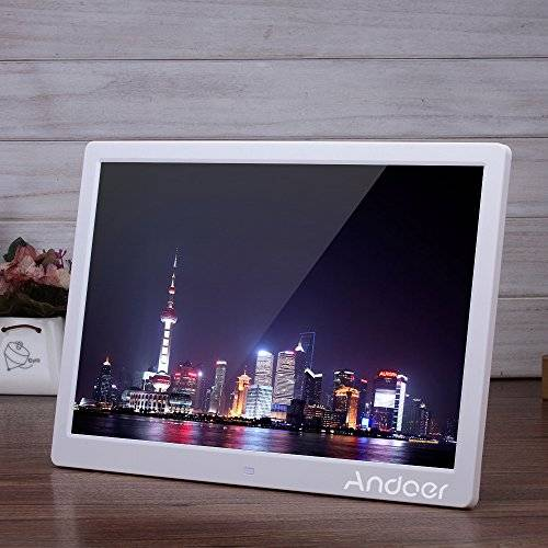 "Andoer 15.6"" Cornice Foto Digitale LED per Musica e Film Movie Player Supporto MP3 / MP4 / Calendario / Sveglia Regalo di Natale con Telecomando"