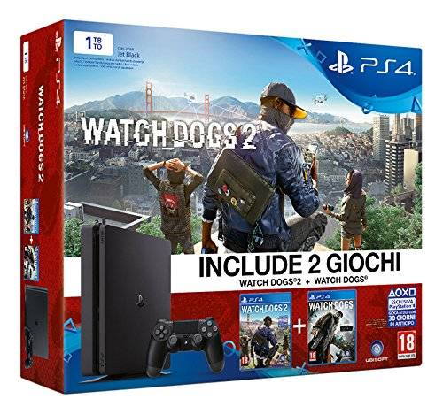 Sony PlayStation 4 1 Tb D Chassis Slim + Watch Dogs 2 + Watch Dogs [Bundle]