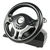 Konig GAME-WHEEL11 Volante per PS2 e PC, Nero