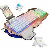 Normia Rita 104 Key Clicky Mechanical Keyboard, Backlight RGB LED, Switch MX RGB Green, Mechanical-Similar Typing Experience - Rose Gold