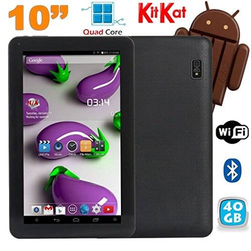 YONIS Tablet 10pollici Quad Core Android 4.4Wi-Fi Bluetooth 40GB Nero