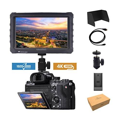 Lilliput nero Lilliput A7S 7 pollici 1920x1200 IPS Screen Camera Field Monitor 4K HDMI Input output Video For DSLR Mirrorless Camera SONY A7 A7R A7S II A6500 Panasonic GH4 GH5 Canon 5D Mark IV 7D 70D 80D DJI Ronin M