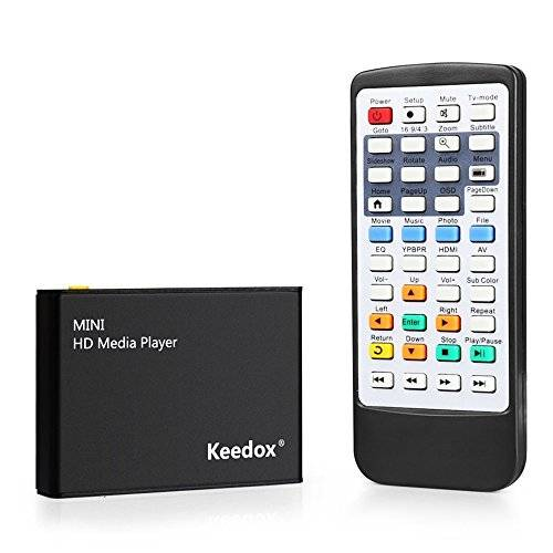 KEEDOX HD Media Box Player con telecomandoFull HD 1080P HDMI Out, 5.1 Surround Sound Out - Play Movies / Music / Photos / Files directly on your TV, supporta tutti i format HD MKV, H.264, Blu-ray , 3D movies & SD/MMC/MS card, USB-flash driver, external USB-hard driver