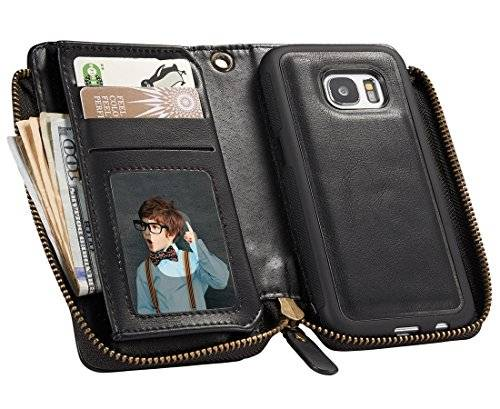 Urvoix Galaxy S7 (5.1 inches) PU Leather Zipper Wallet Case/Detachable Removable Cover Case/ID Credit Card Cash Holder for Samsung Galaxy S7