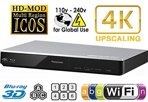 Panasonic 270Lettore multi zona All Region DVD Blu Ray Player. 4K Upscaling–Wi-Fi–2d/3d–Plays BDS, DVD, Music Cds. 100–240V World-wide Voltage & 2m hdmi Cable Bundle.