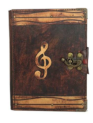 A Little Present Solo Music note Decoration Refillable Leather Journal/Diary/Lock/Brown vintage Style/Notebook/Plain Paper Book Women Men Children Office work