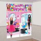 Amscan – 670438 Barbie Sparkle Scene Setter – Kit decorazione parete