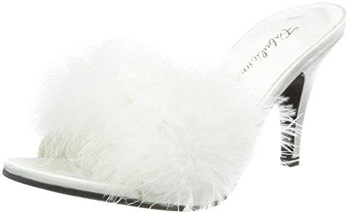 Fabulicious AMOUR-03 Wht Satin-Fur Size UK 2 EU 35