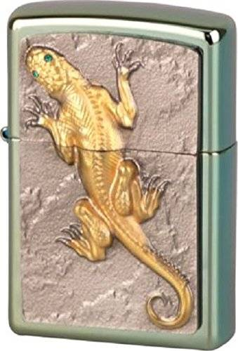 Zippo 16274 Golden Lizard with Green Eyes – Limited Edition, Chameleon Accendino, cromo/argento