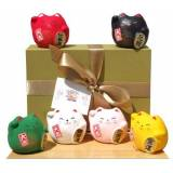 Gifts Of The Orient Gift Box - giapponese Maneki Neko gatti fortunati sei tondo colorato