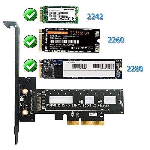 DN M.2 NGFF PCI-e SSD PCI Express 3.0 x4 scheda host Supporto M.2 PCIe (NVMe o AHCI) Tipo 2242 2260 280