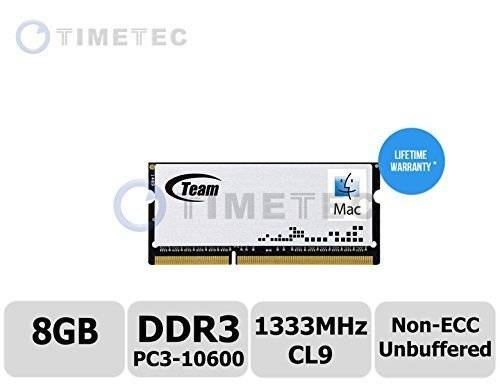 Timetec ® Apple memoria (P/N AP/so-d 1333 8 G) 8 GB DDR3 1333 MHz (PC3 - 10600) non-ECC unbuffered, CL11, 2R, 1,5 V, X8, SODIMM 204-pin Single Rank Laptop/Notebook) memoria aggiornamento per Apple Mac - Garanzia a Vita