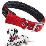 PETBABA Reflective Dog Collar, PETBABAB Padded Metal Buckle Adjustable Training Collar for Dogs Red