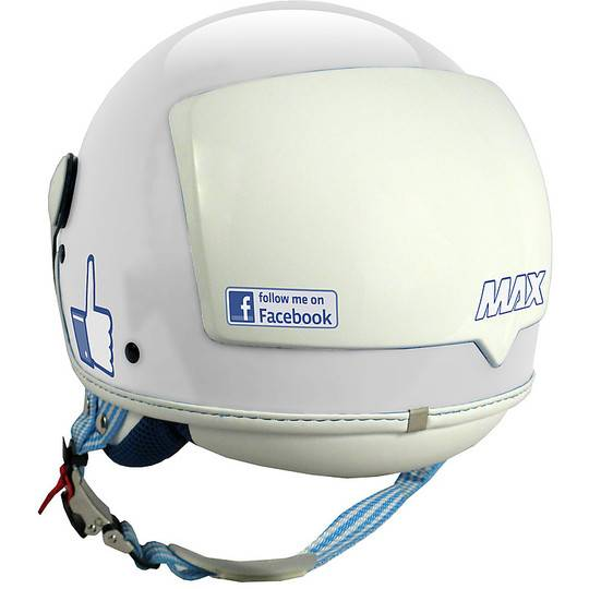 NewMax Casco moto jet new max facebook the social network bianco lucido
