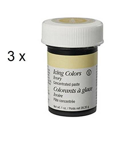 Wilton IVORY Icing Colour Paste Gel Sugarcraft Food Colouring Decorating x 3