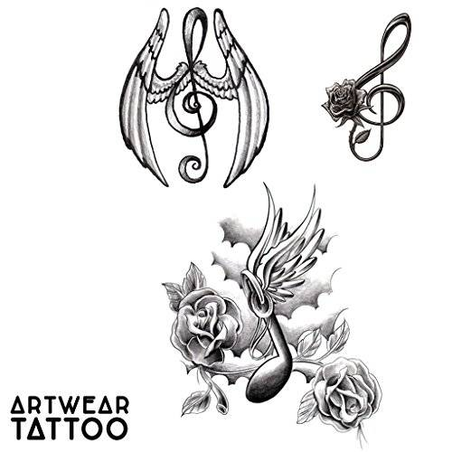 "ArtWear Tattoo 3 Tatuaggi Temporanei Realistico di artista ""Music note Tattoo""  B9960 M"