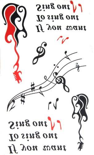 GGSELL New release temporary tattoo waterproof female English letters music symbols guitar tattoo stickers