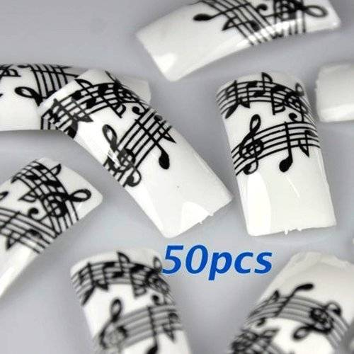 350BUY 50 Black White Music Note French False Nail Tips NEW by 350buy