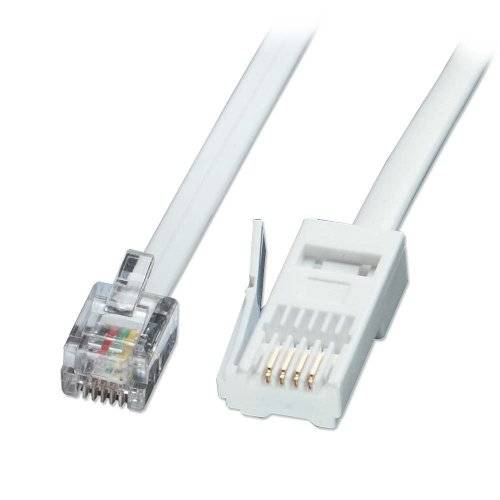 Lindy 2m RJ-11/BT Telephone 2m White telephony cable - telephony cables (RJ-11, BT)