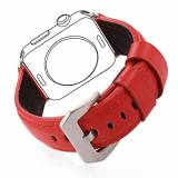 Bandmax Leather Watch Band High Quality Genuine Leather with Classic Buckle Replacement Wrist Bracelet Strap for Apple Watch Series 2/Series 1 All Models (42MM Red)
