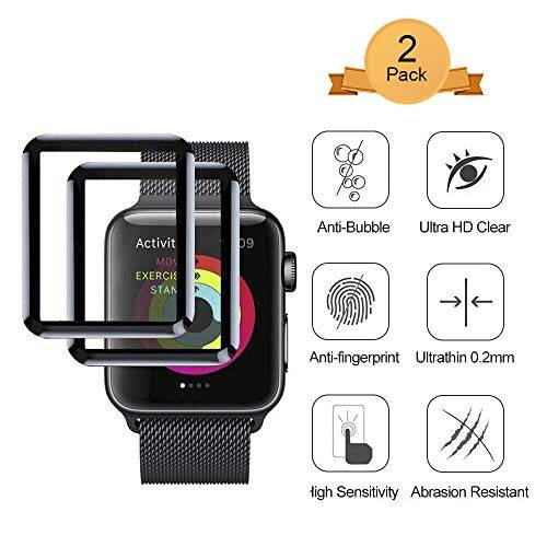 Aottom [2 Pack] Screen Protector for iWatch 42mm [3D Curved Edges Full Coverage] Apple Watch Screen Protector Protection Carbon Fiber Frame Edge Tempered Glass Film for 42mm Apple Watch Series 3/2/1