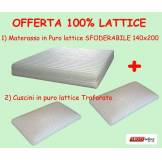 Ergorelax Offerta Materasso In Lattice Concordia Sfoderabile 140 X 200 + 2 Cuscini In Puro