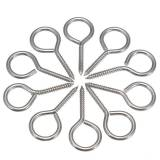 10Pcs M3 40mm 304 Stainless Steel Eye Bolt Screw Close Ring Hook Picture Frame Light Cabinet Plant Lamp Tool