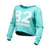 Better Bodies Cropped Sweater, light aqua, small