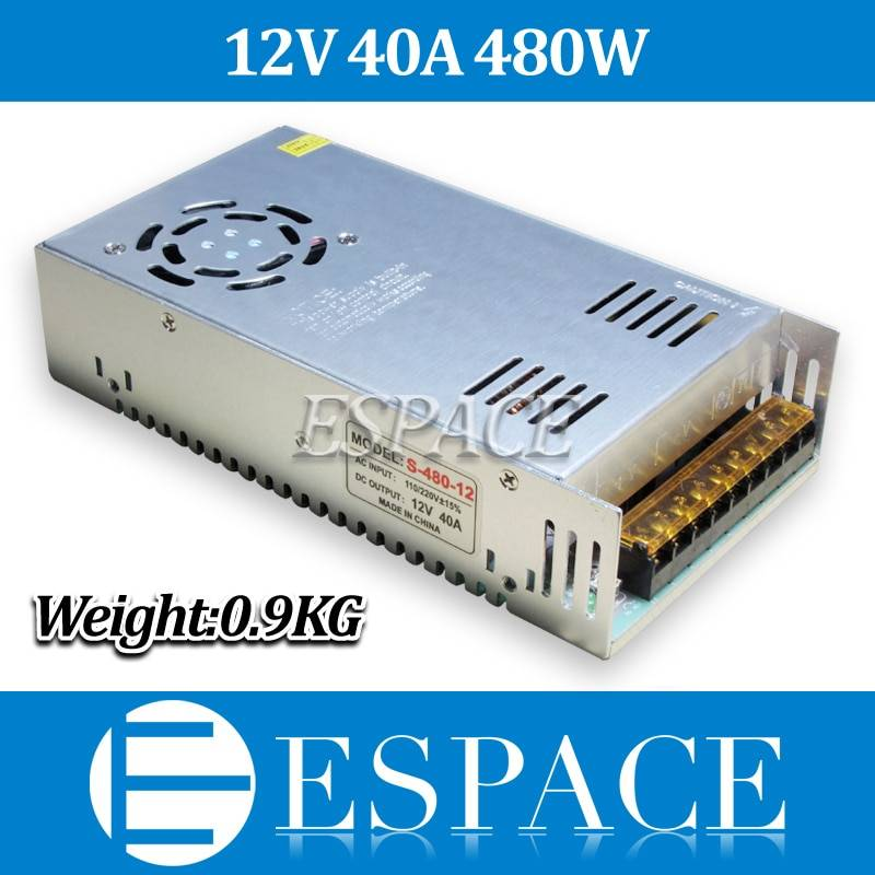 New Arrival 12V 40A 480W Switching Power Supply Driver for LED Strip AC 100-240V Input to DC 12V free shipping