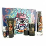 Christian Audigier Ed Hardy Coffret: Edt Spray 100ml/3.4oz+ Body Wash 90ml/3oz+ Deo Stick 75g/2.5oz+ Edt Spray 7.5ml/0.25oz